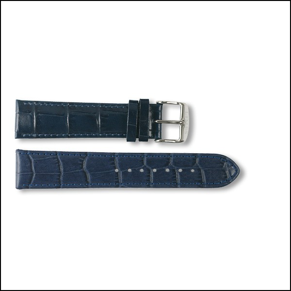 Lederband Pharo - Kroko-Design - blau - 20mm